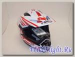 Шлем кроссовый Shiro SH-734 Bravo (красный/белый.чёрный-белый)