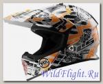 Шлем LS2 MX437 FAST MINI GLITCH White Black Orange