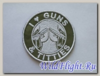 Шеврон I love guns & titties (зеленый)