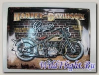 Знак винтажный Harley-Davidson V-TWINS (двигатель В-ТВИН) 40 x 30см
