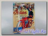 Панно винтажное (как в МОТО-барах, эстамп (сталь) +краска) 30*20 см INDIAN MOTORCYCLE 1916