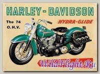 Знак винтажный HARLEY-DAVIDSON (20*30) THE 74 O.H.V