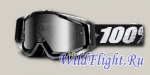 Очки 100% Racecraft Snowmobile Abyss Black Mirror Silver Vented Dual Lens w/Pins