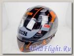 Шлем IXS интеграл HX 1000 THON чёрно-оранжево-серебристый