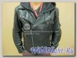 Куртка байкера HARLEY DAVIDSON, натуральная кожа+толстовка с капюшон., бок утяжки Классик ворот.