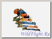 Стропы универсальные для крепления багажа (набор), 4 шт., красные/оранжевые