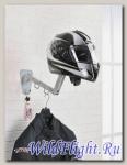 Гардероб байкера, холдер раскладной на стену для шлема и одежды, на 1 шлем, 2 вешалки, цвет серебр.