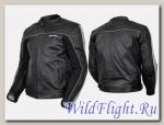 Куртка мотоциклетная (кожа) Action черно-серебристый MICHIRU
