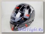 Шлем IXS интеграл HX 1000 THON чёрно-красно-серебристый