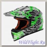 Шлем LS2 MX437 FAST GLITCH White Black Green