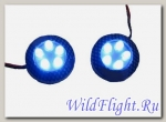 Фонари самоклеющиеся светодиодн. круглые (пара) M18AB карбон синий пост. cвет SCOOTER-M