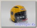 Шлем Ataki (открытый со стеклом) OF512 Solid желтый глянцевый