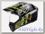 Шлем LS2 MX433 WITH VISOR STRIPE Black Hi-Vis Yellow