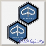 Наклейки (пара) (6х15) эмблема Piaggio (металл)